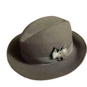 Vtg Women Fedora Wool Grey Hat W Ribbon Feather